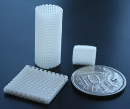Porous polycaprolactone (PCL) structures produced through hot-melt extrusion printing in an array of structure geometries based on geometric .stl data and user defined grid spacing parameters.