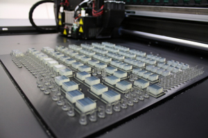 Batch production of biocompatible components using Objet MED610™ for use in biological experiments (Fig. 2.A)